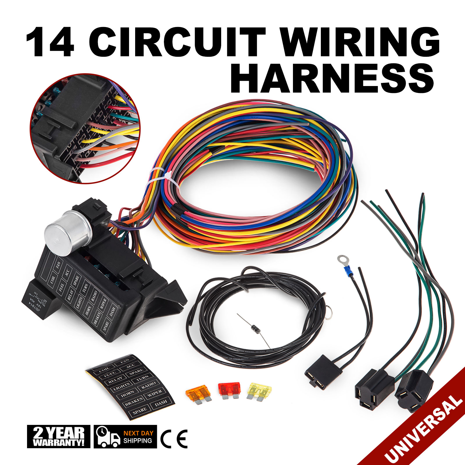 14 Circuit Wiring Harness Library Universal Hot Rod Hq Fuse Wire Muscle Car Street Rat Xl Us 871248708252
