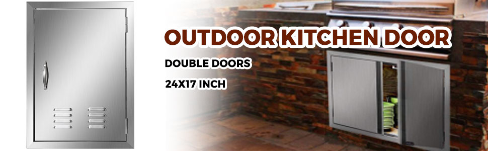 """24""""HX17""""W BBQ Access Single Door Vents Rust Resistant For Kitchen Cabinet Grills"""