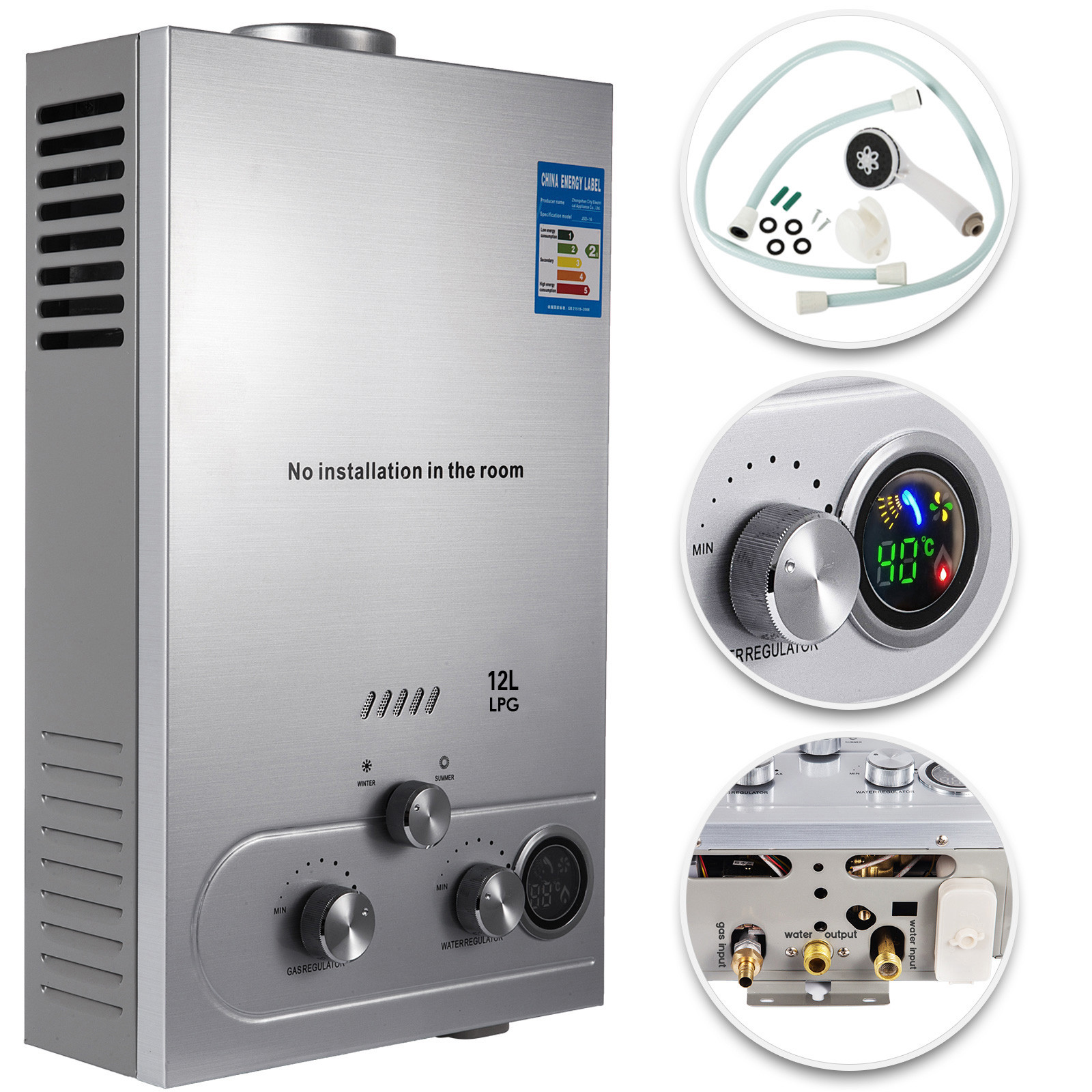12L Tankless Propane Gas LPG Instant On-Demand Hot Water Heater With Showers