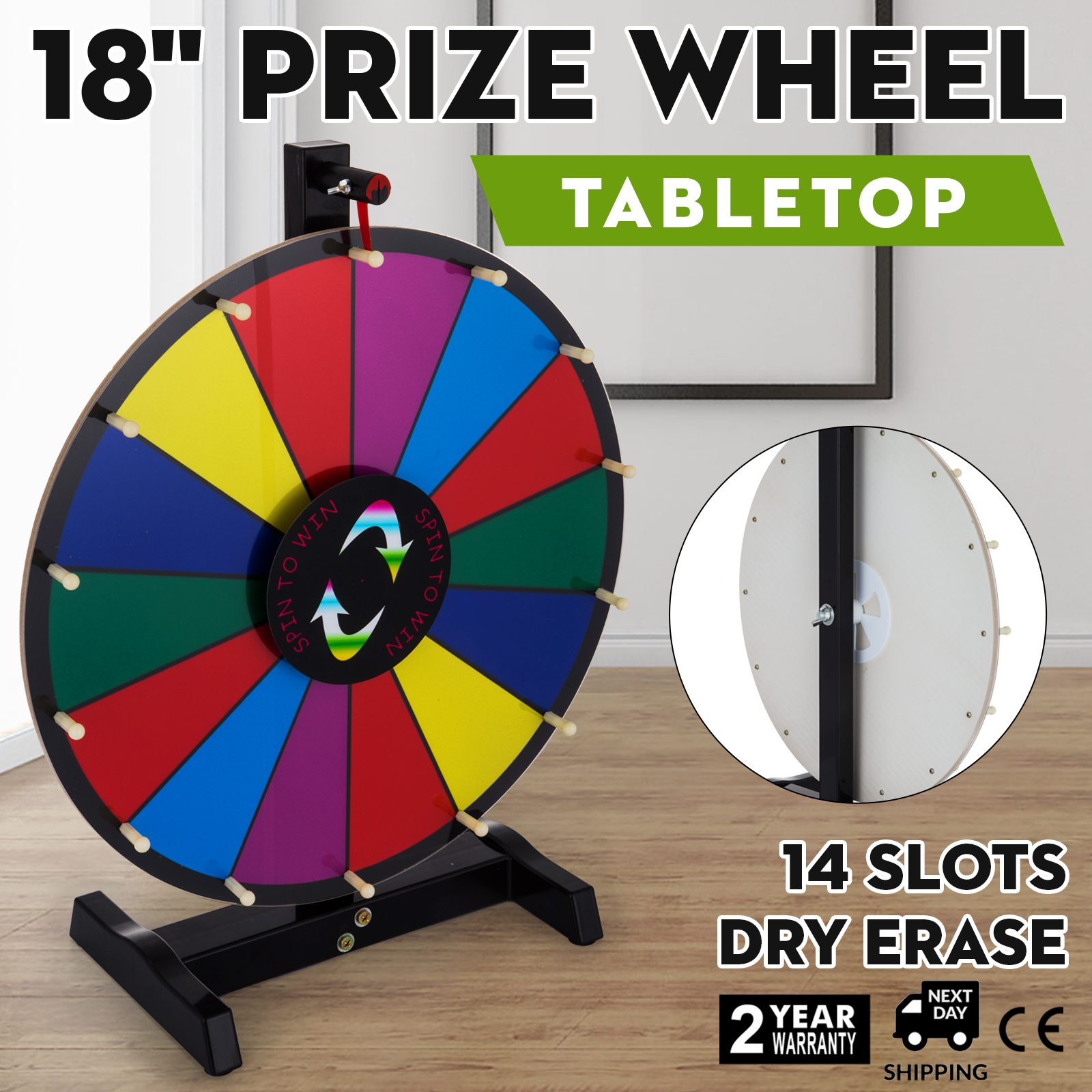 "24/"" Woodwell® Tabletop Color Dry Erase Fortune Prize Wheel 15 Slots"