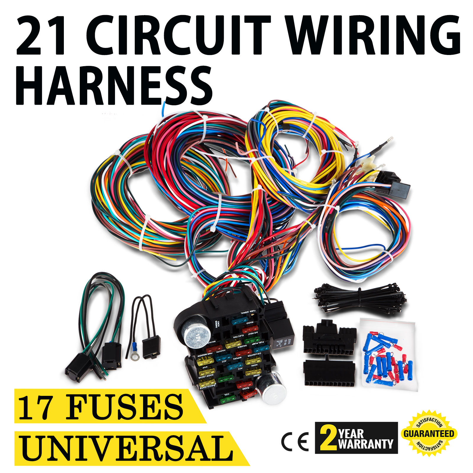 21 Circuit Wiring Harness Universal Wire Cigarette Lighter Wires Power Windows