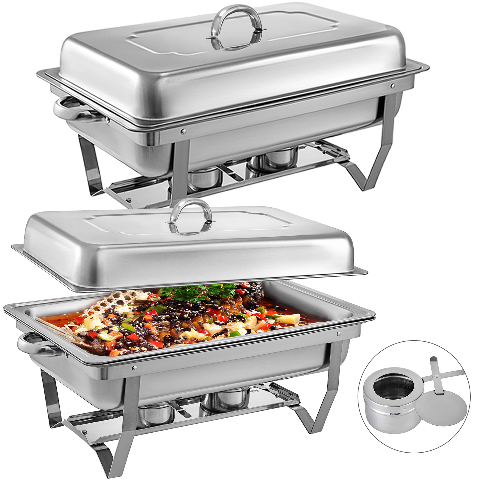 thumbnail 13 - Multi-Stainless-Steel-Chafing-Dish-Bain-Marie-Bow-Catering-Dish-Hotpot-Server