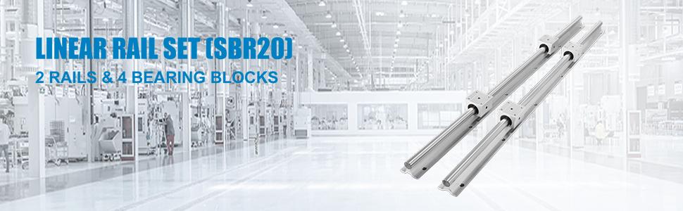diametro del foro 25mm Lineare Light Bearing Guida Guida Cilindrica in alluminio Staffa Unit/à lineare del cursore del cuscinetto a sfere PQZATX SBR25UU