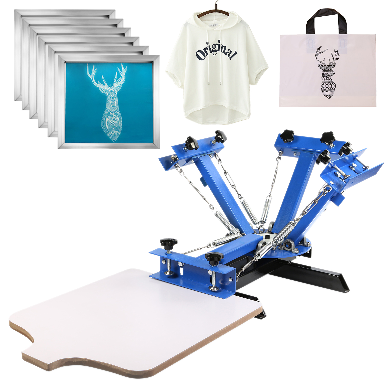VEVOR Screen Printing Press 4 Color 4 Station and 6 Pieces 18x20 Inch Aluminum Silk Screen Printing Frames with White 160 Count Mesh