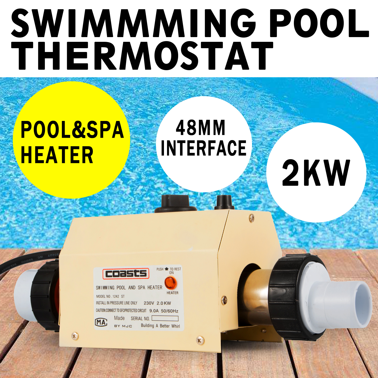 2kw swimming pool thermostat water heater jacuzzi 9a automatic rh ebay co uk