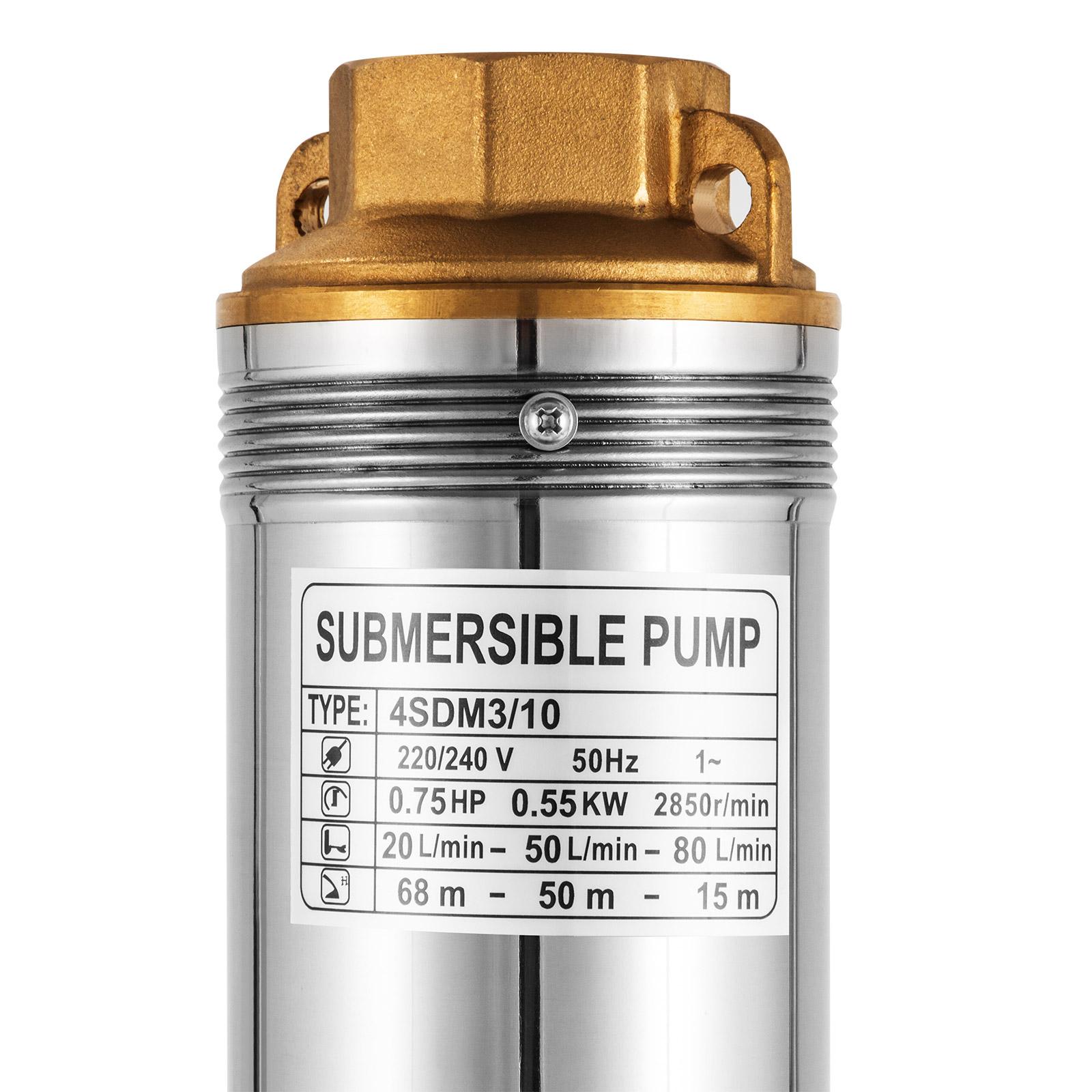 Tiefbrunnenpumpe 5500l//h 230V 0,55kW Ø102 mm Tauchpumpe Edestahl sandverträglich