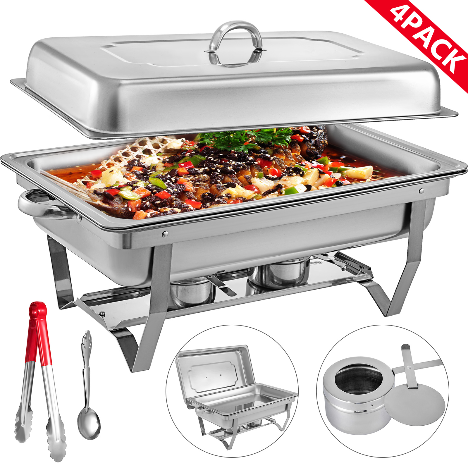thumbnail 25 - Multi-Stainless-Steel-Chafing-Dish-Bain-Marie-Bow-Catering-Dish-Hotpot-Server