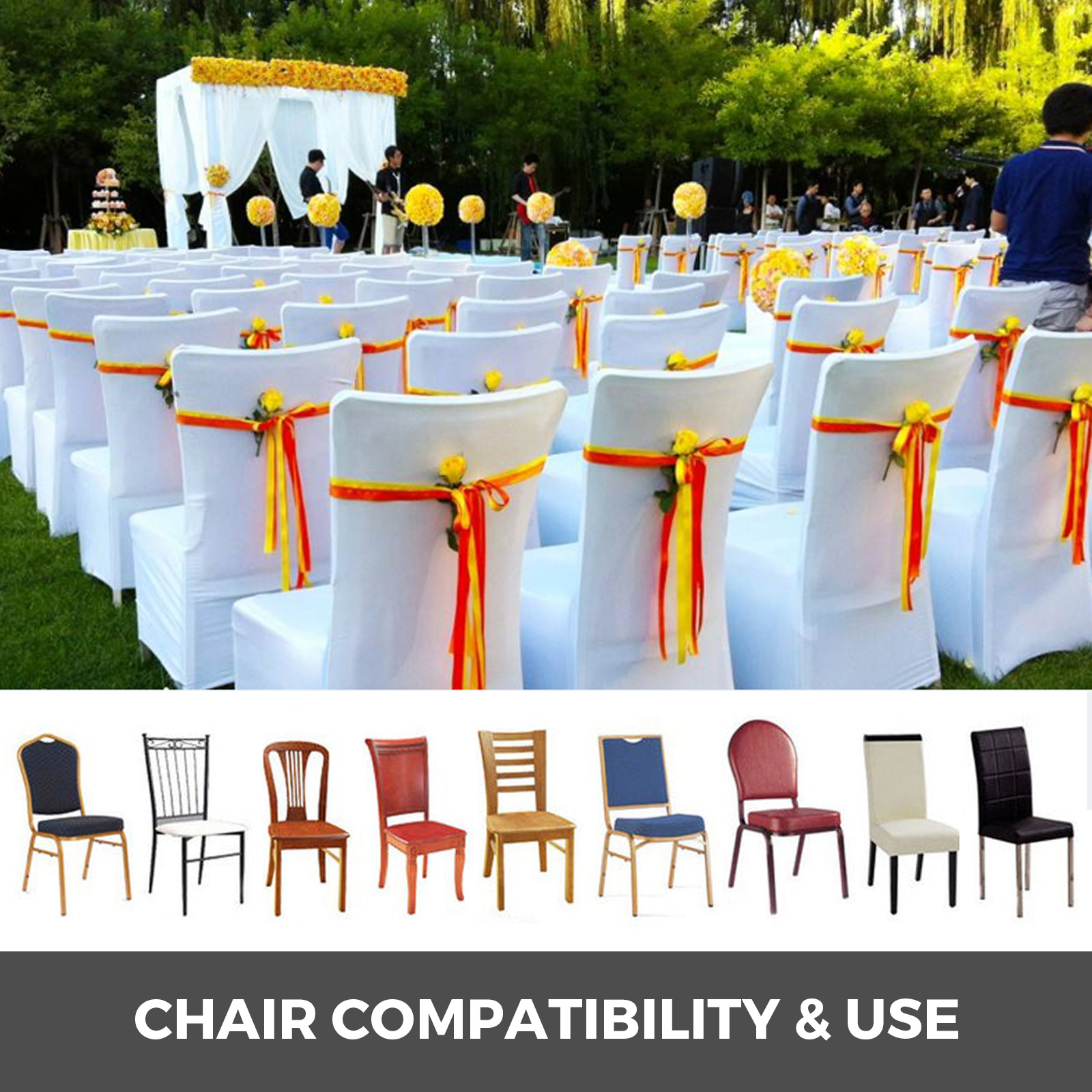 50 100 Chair Cover Spandex Lycra White Black Ivory Covers