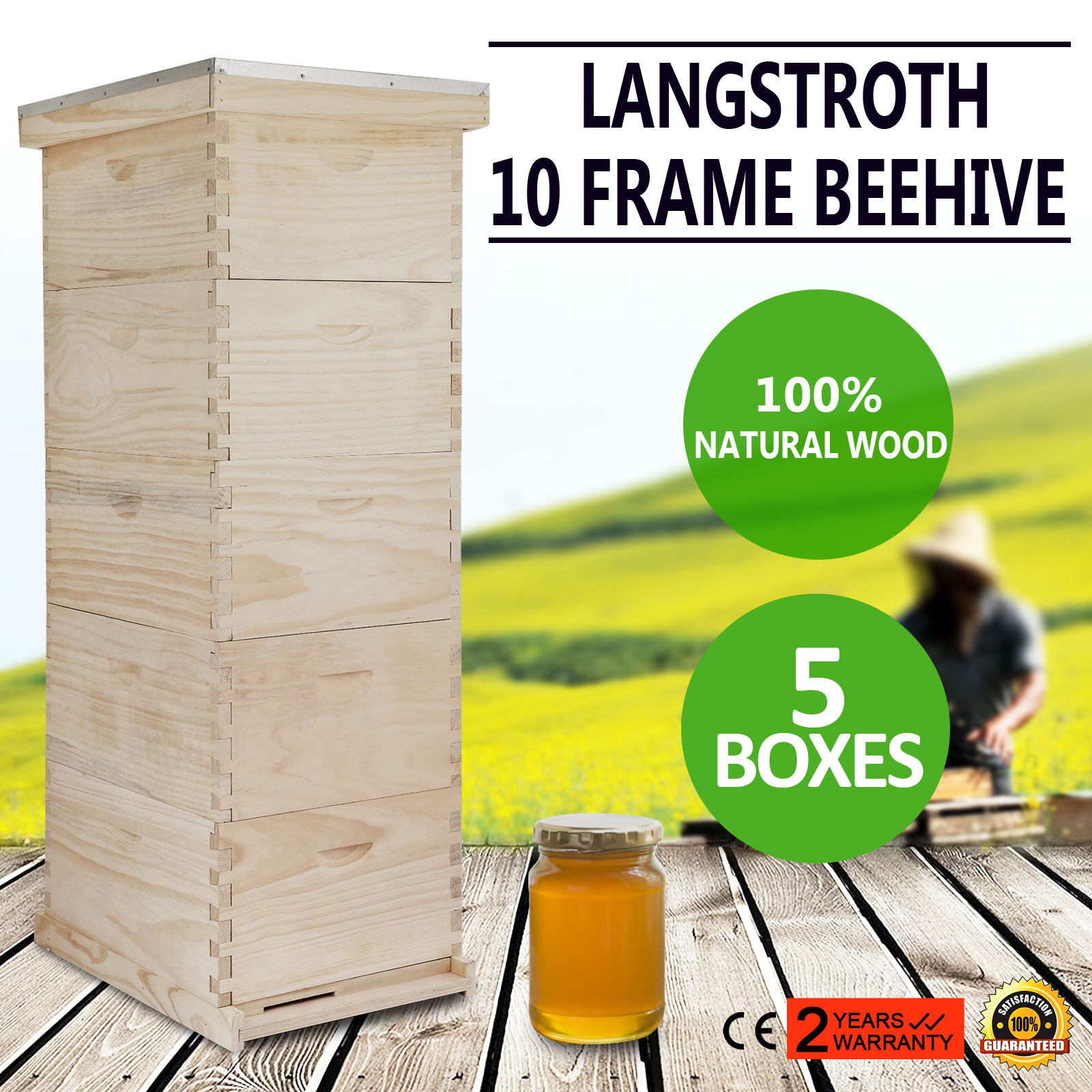 5 Brood Box10-Frame Beehive Frames //Bee Hive Frame for Beekeeping w// Metal Roof