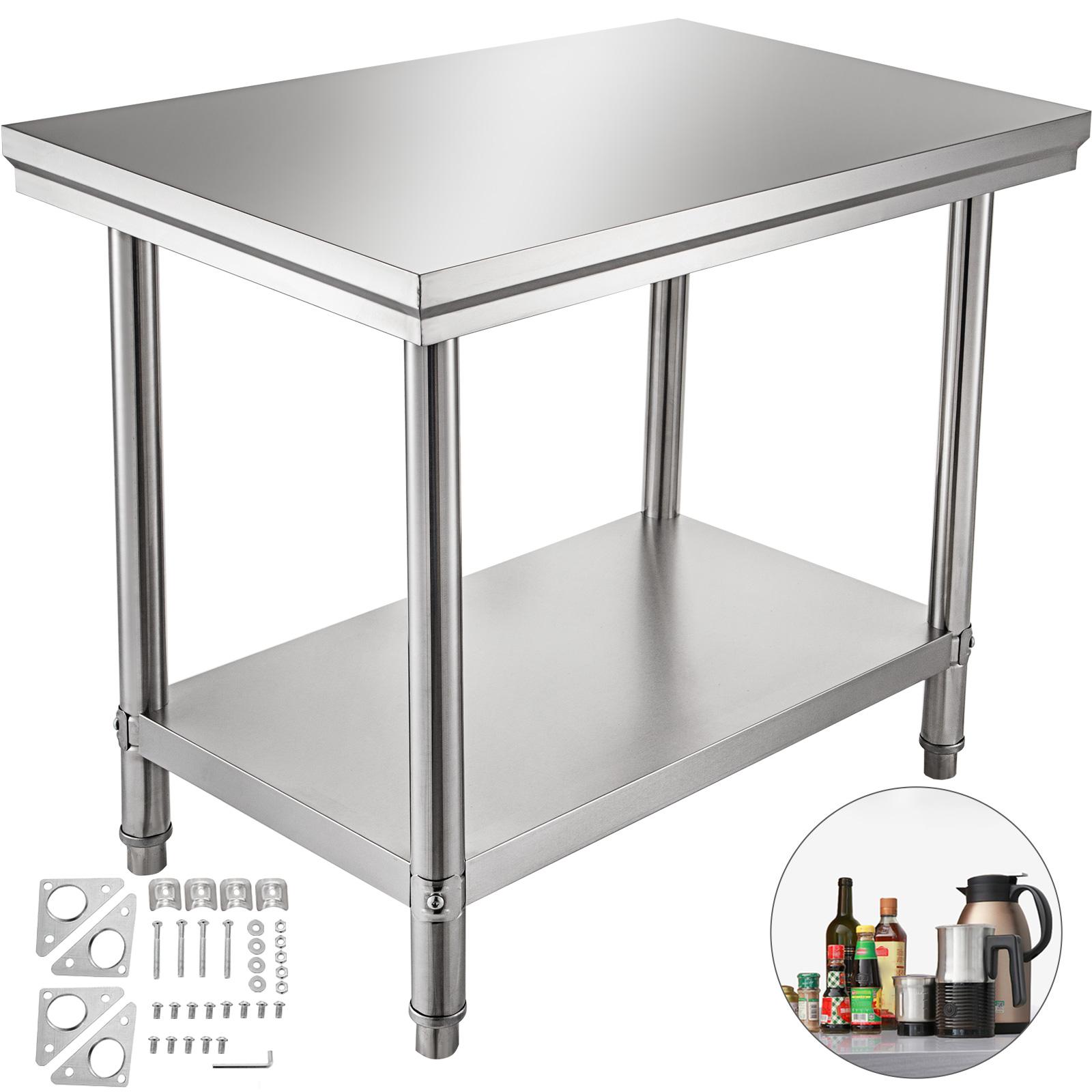 30X60CM Edelstahl Gastro Tisch Edelstahltisch Arbeitstisch Küchentisch