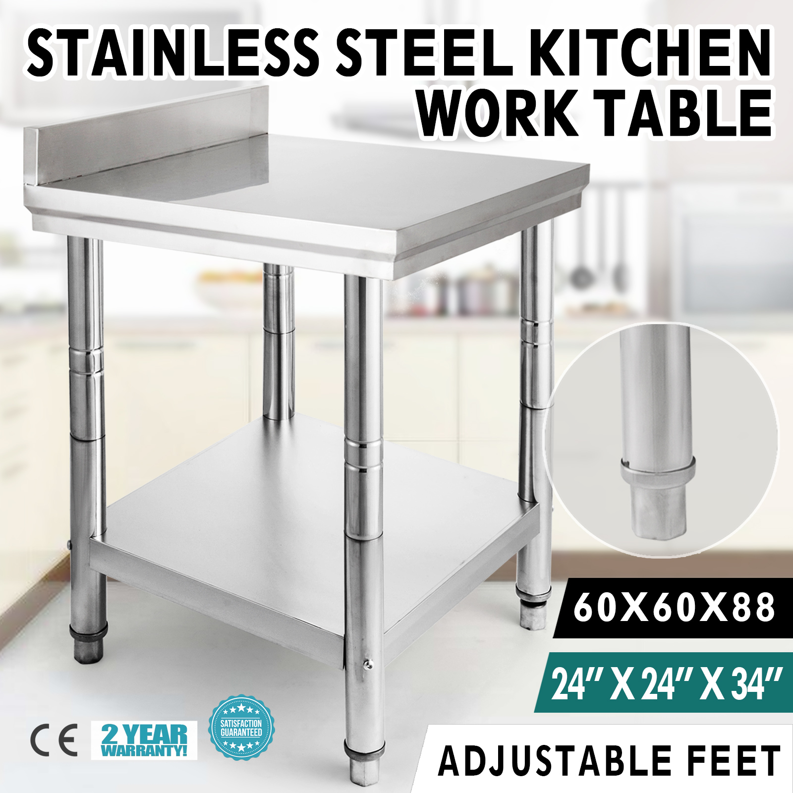 60X60CM Stainless Steel Work Prep Table With Backsplash Kitchen Restaurant  New ...