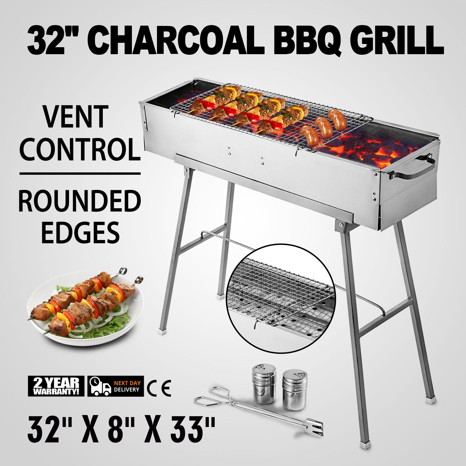Grille barbecue BBQ Acier chromé 64x34x24cm Plaque double Griller Viande Roti