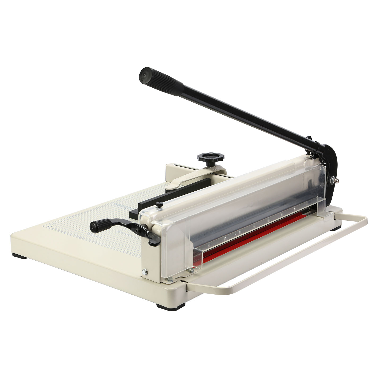 paper cutter guillotine Guillotine paper cutter, 40 sheet capacity, base material steel, and blade material stainless steel varies by cutting length.