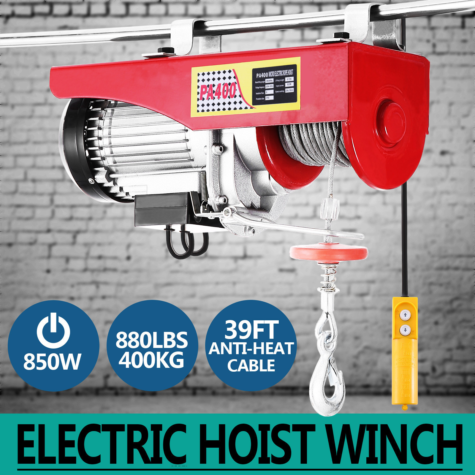 100kg-900kg-Electric-Hoist-Winch-Lifting-Engine-Crane-Cable-Lift-Hook-Garage miniature 25