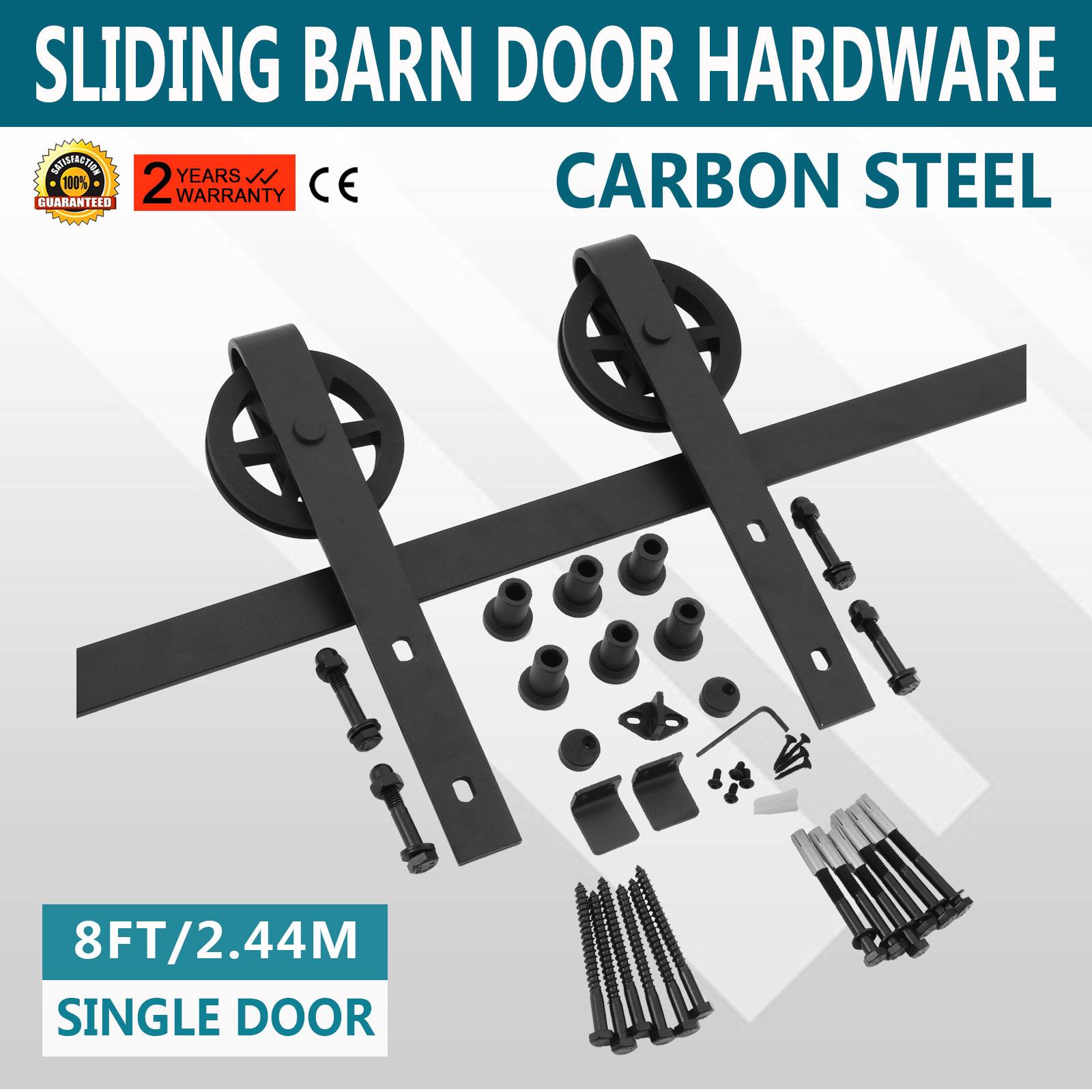 244m Sliding Barn Wood Door Hardware Track Kit Carbon Steel Roller