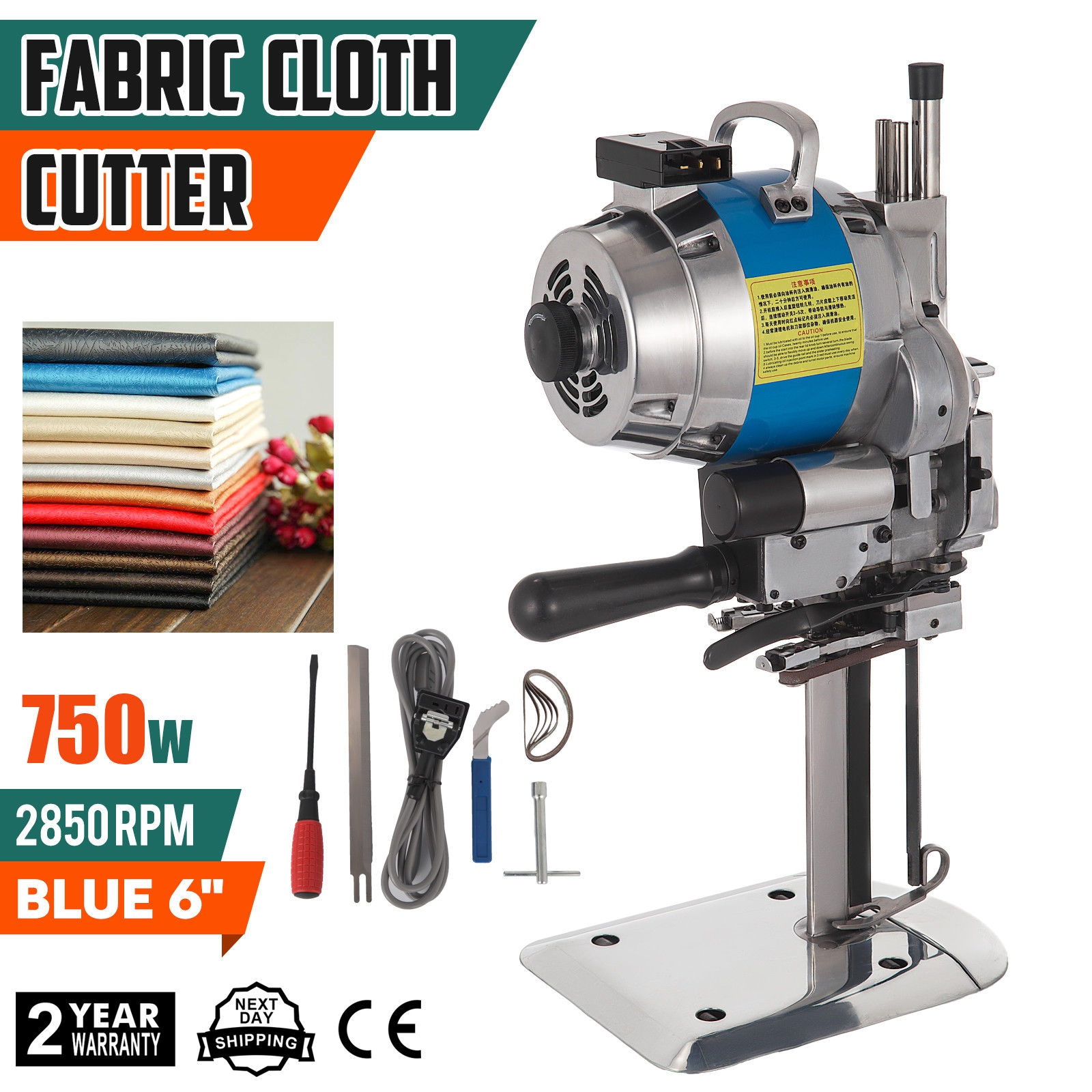 """Fabric Cloth Cutter Blue 8/"""" Cutting Machine Auto Sharpening Clothes Stable"""