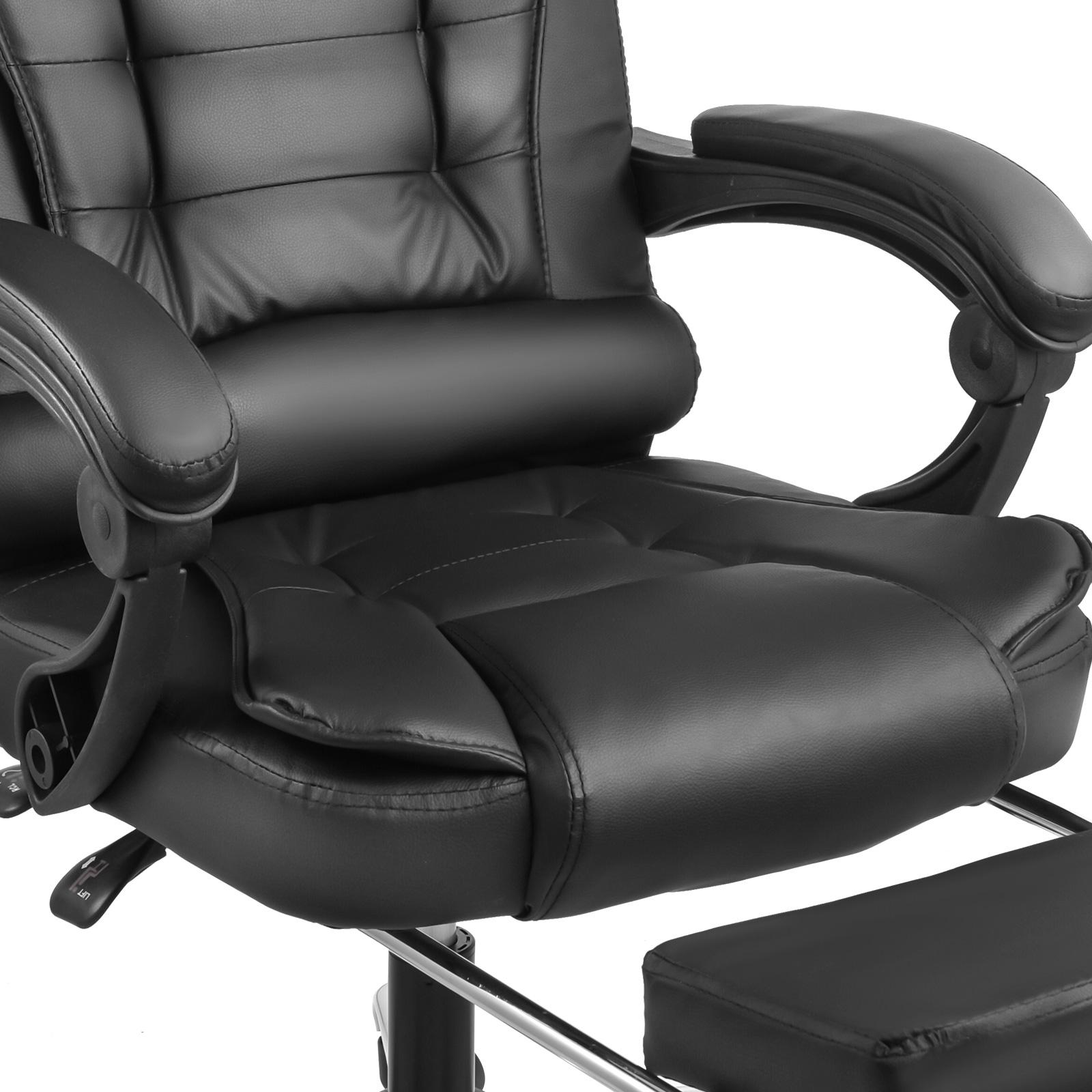 einstellbar pu b rostuhl chefsessel drehstuhl mit fu ablage schwarz 130 kg 278716903117 ebay. Black Bedroom Furniture Sets. Home Design Ideas