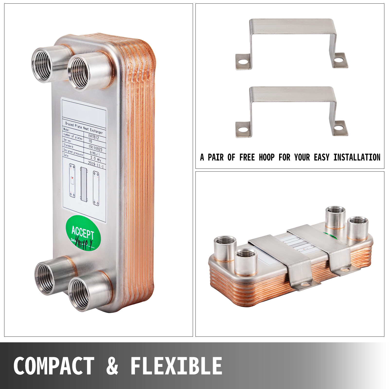 Brazed Plate Heat Exchanger, 10 Plate Heat Exchanger