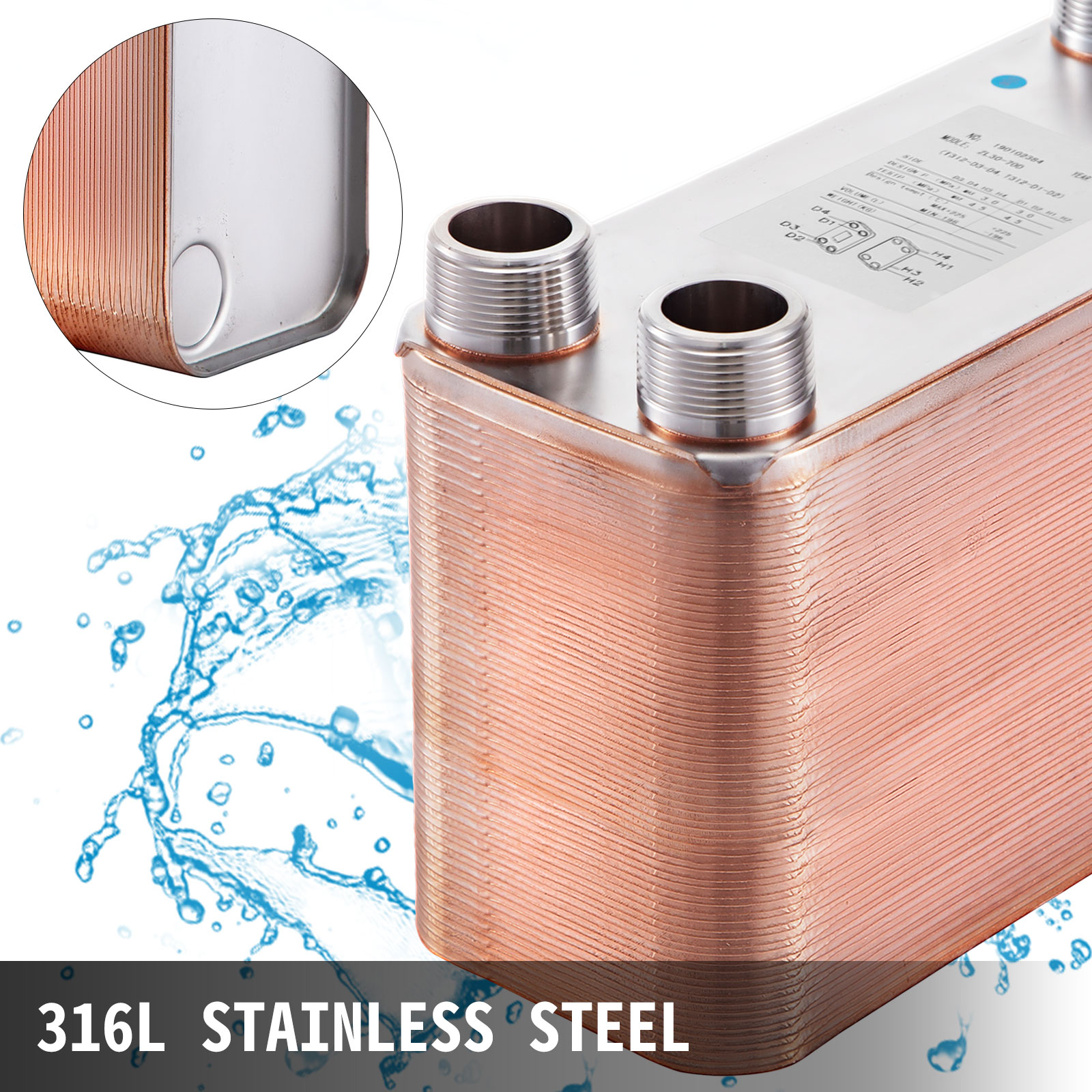5x12 Water to Water Plate Heat Exchanger 10-90 Plate 316L w//Brackets F//MPT Ports