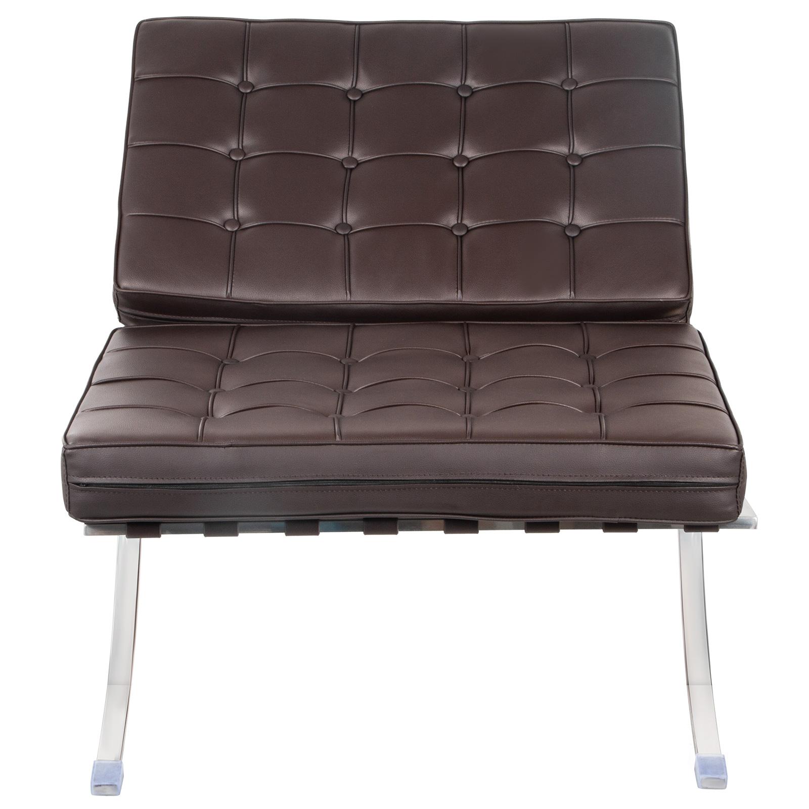 Lounge Chair Mid Century Modern Classic Barcelona Style Pu