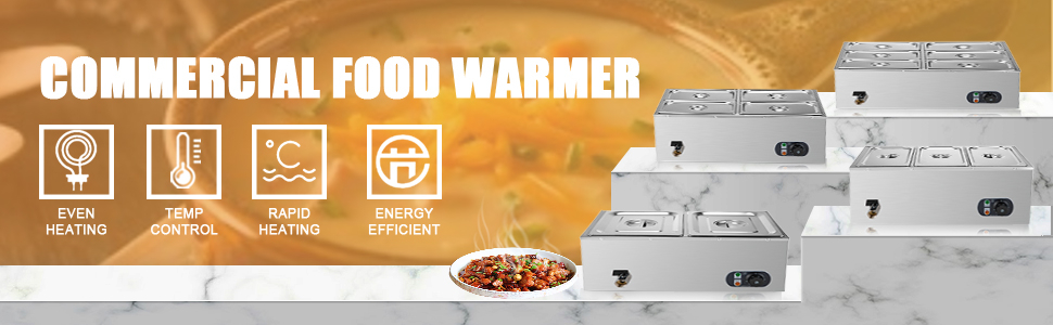 commercial food warmer, stainless steel, 6 pans