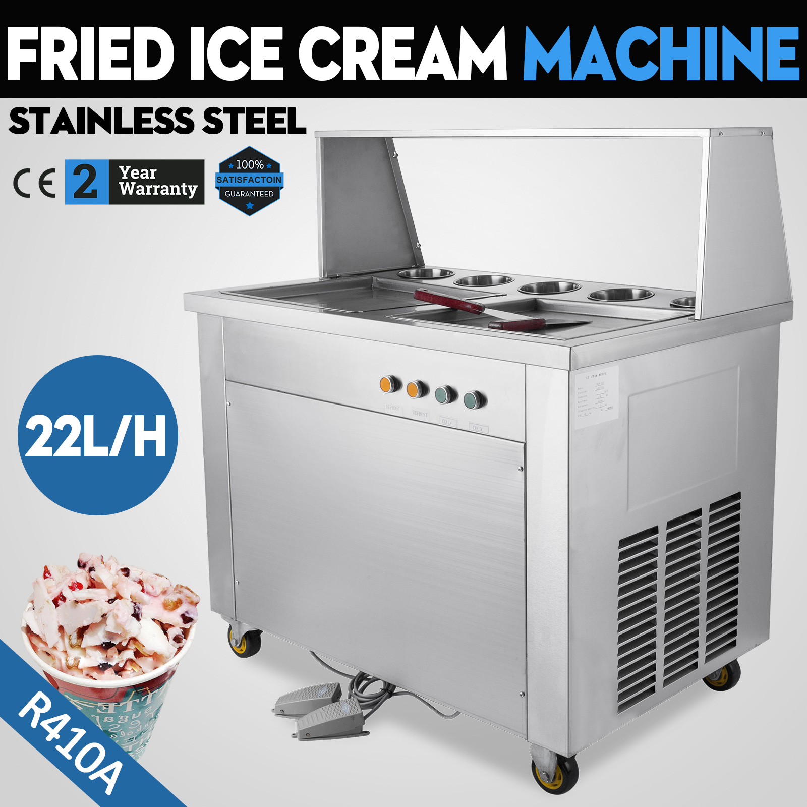 Commercial Fried Ice Cream Machine 304 Stainless Steel