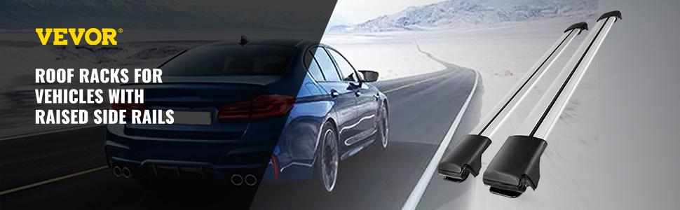 Bestauto Aluminum Roof Rack T-Slot Raised Rail Cross Bar Carrier for 2004-2013 BMW X5