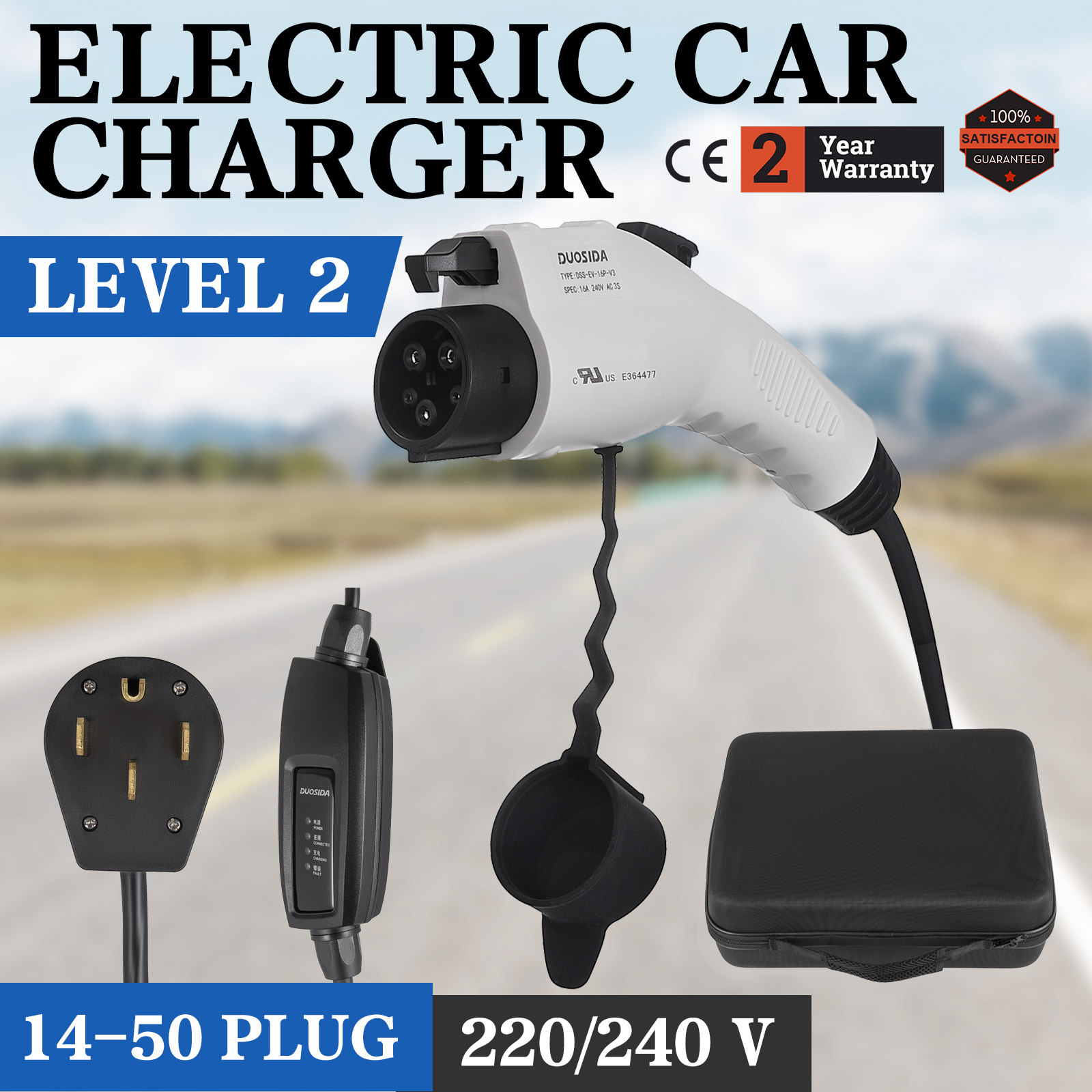 Details About Universal Electric Car Charger 14 50 Plug Level 2 220v Ev 240v Evse 23 Feet