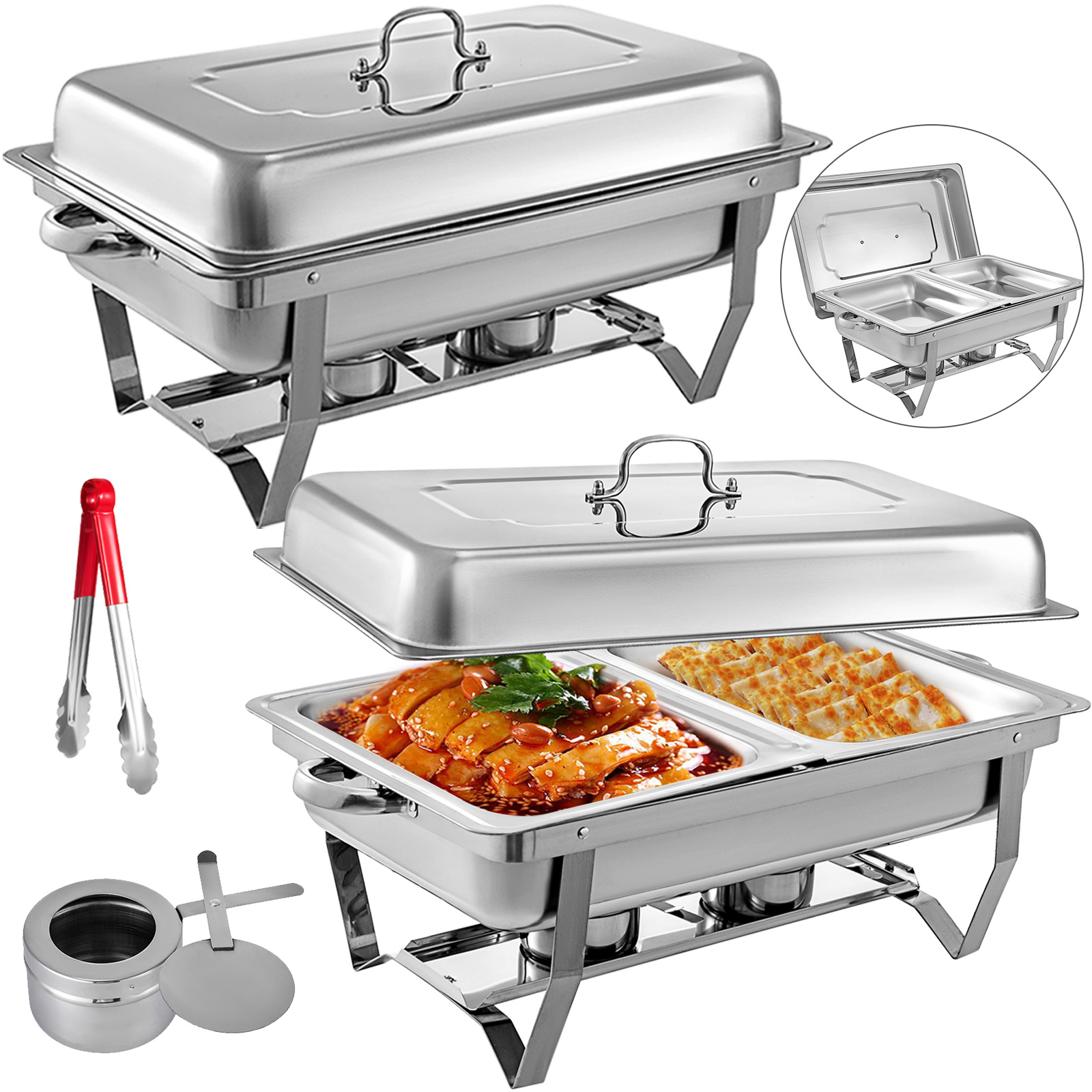 thumbnail 61 - Multi-Stainless-Steel-Chafing-Dish-Bain-Marie-Bow-Catering-Dish-Hotpot-Server