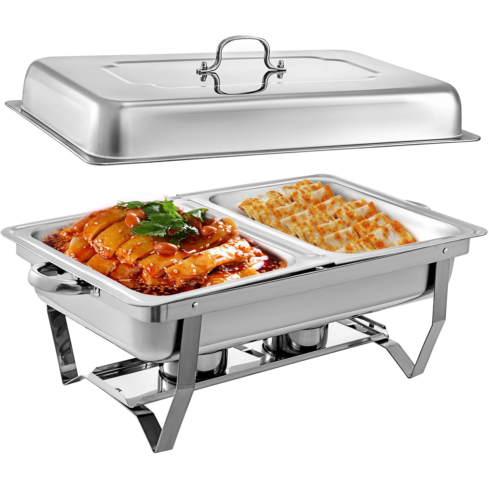 thumbnail 72 - Multi-Stainless-Steel-Chafing-Dish-Bain-Marie-Bow-Catering-Dish-Hotpot-Server