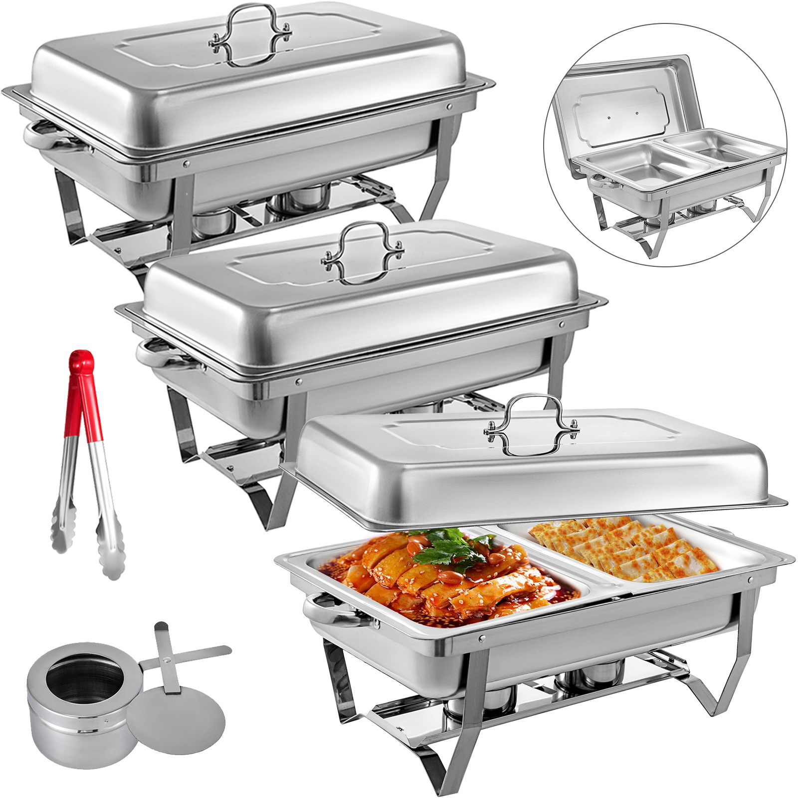thumbnail 73 - Multi-Stainless-Steel-Chafing-Dish-Bain-Marie-Bow-Catering-Dish-Hotpot-Server