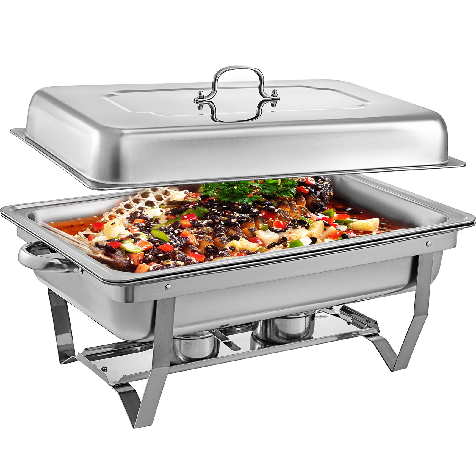 thumbnail 48 - Multi-Stainless-Steel-Chafing-Dish-Bain-Marie-Bow-Catering-Dish-Hotpot-Server
