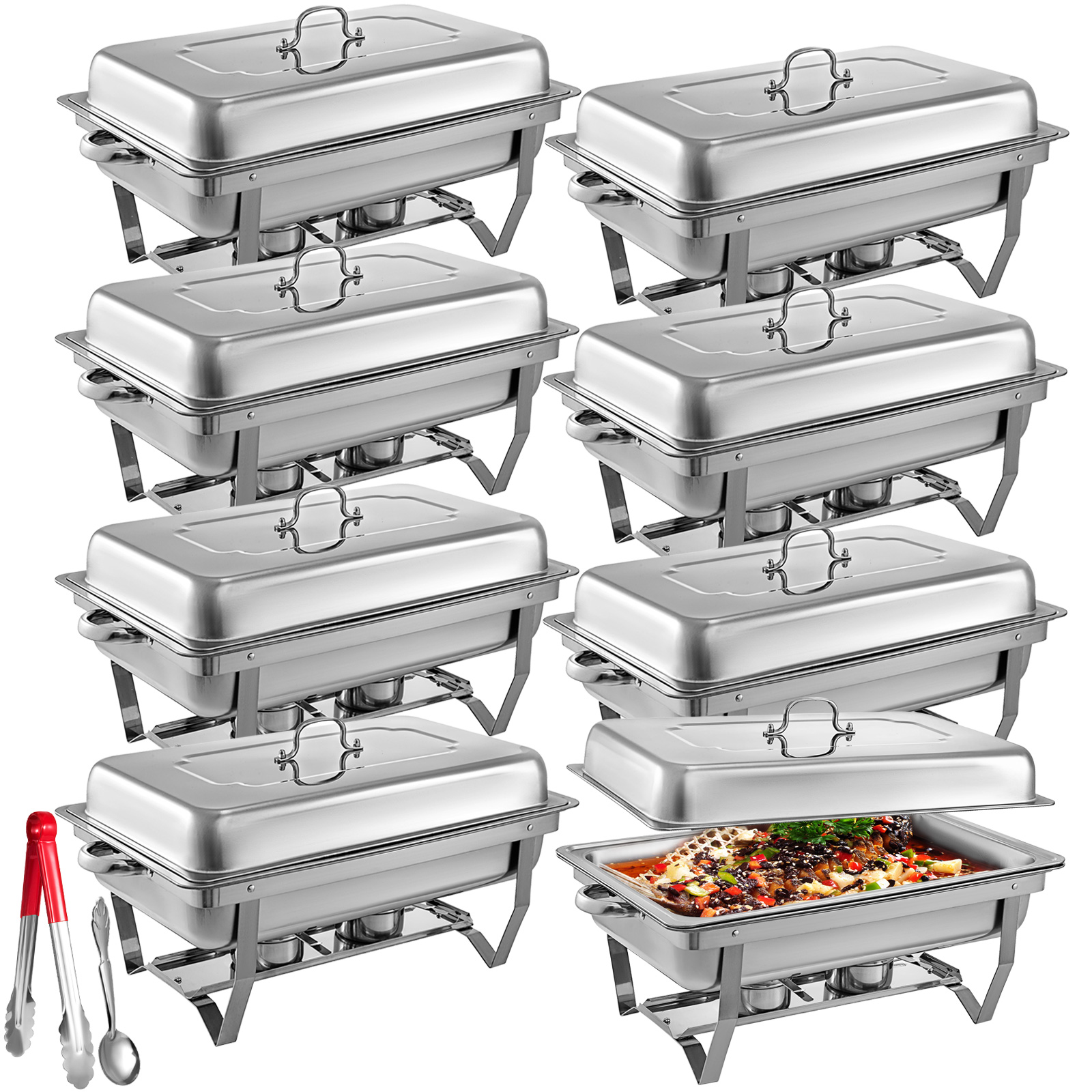 thumbnail 49 - Multi-Stainless-Steel-Chafing-Dish-Bain-Marie-Bow-Catering-Dish-Hotpot-Server