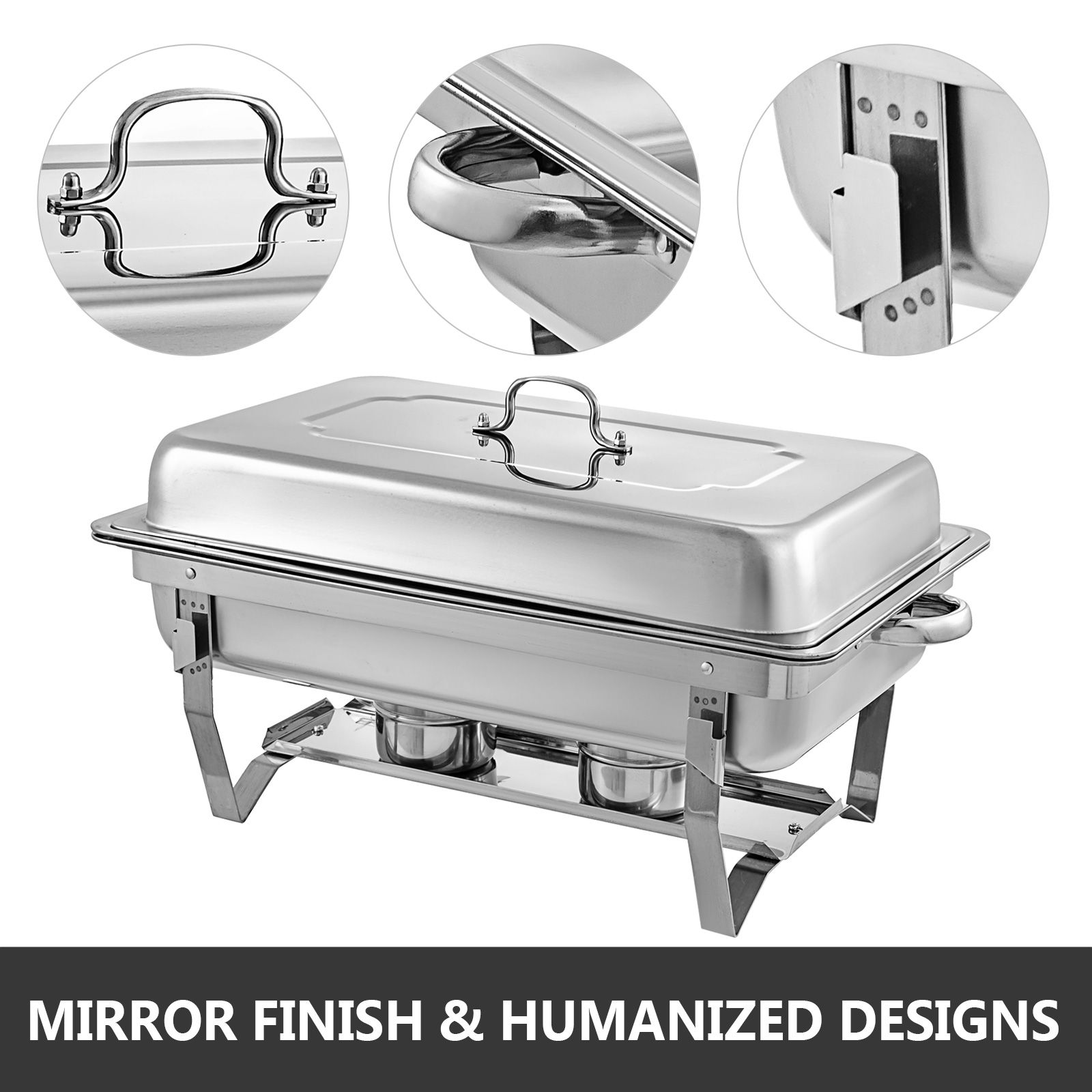 thumbnail 51 - Multi-Stainless-Steel-Chafing-Dish-Bain-Marie-Bow-Catering-Dish-Hotpot-Server
