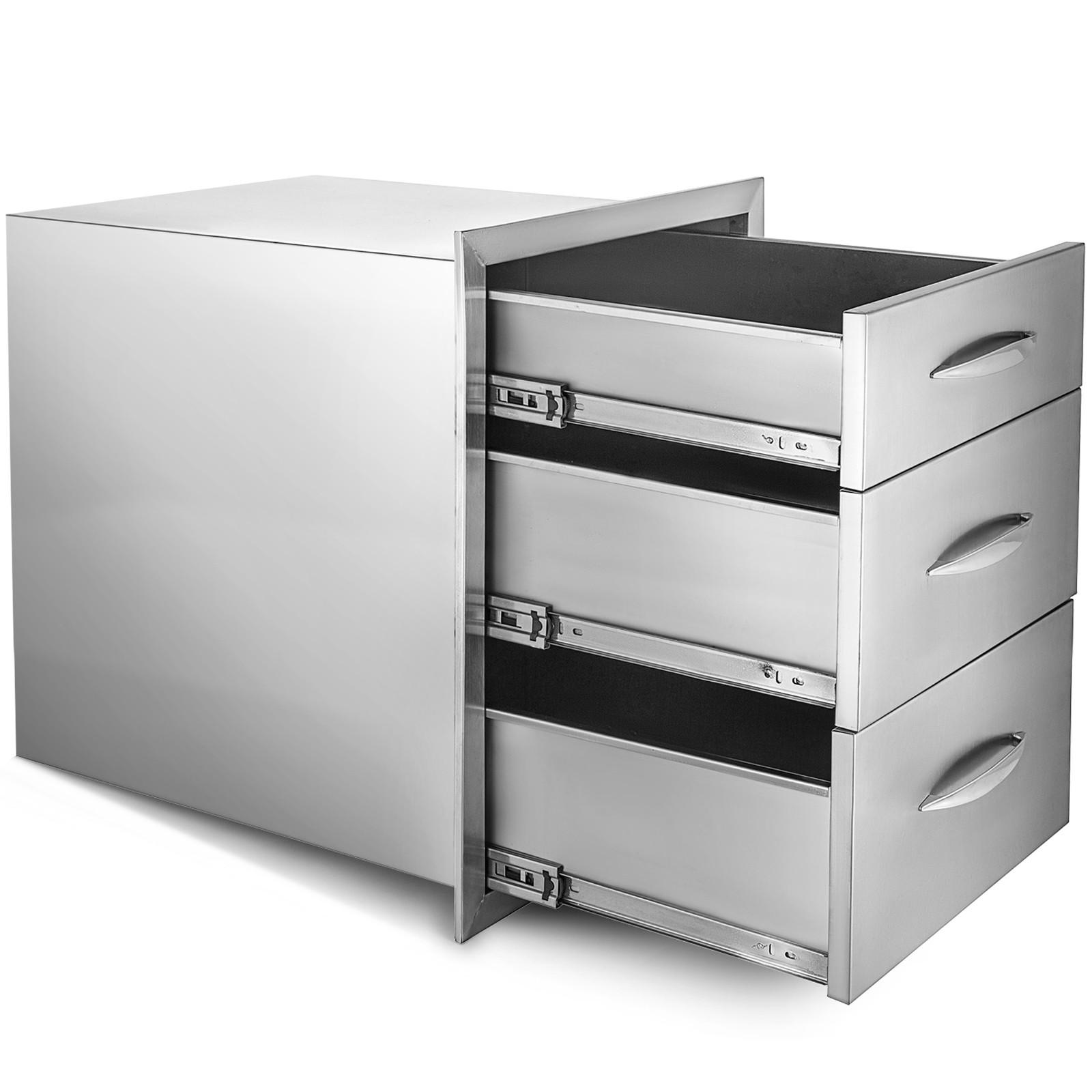 BBQ Doppelschubladen 61X46cm Edelstahl Küchenschrank Kommode mit 2 Schubladen