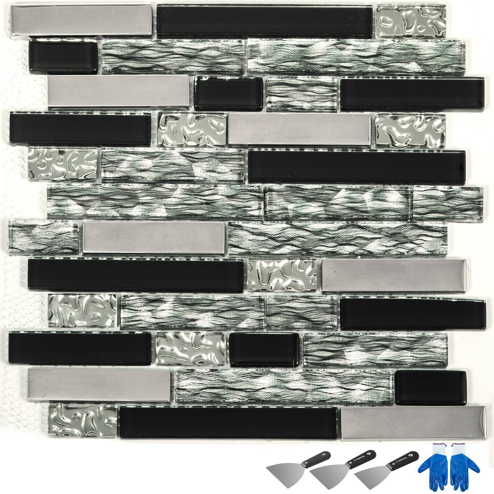 6 Sq Feet Black Silver Glass Tile Kitchen Backsplash Mosaic Art Decor Bath Wall