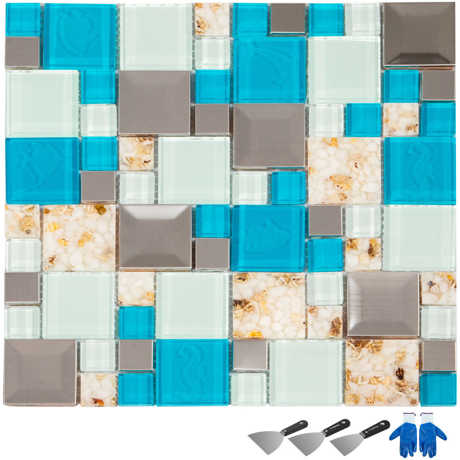 6 Sheets Beach Style Glass Tile For Kitchen Backsplash Bath Wall Seashell Inside 857427005237 Ebay