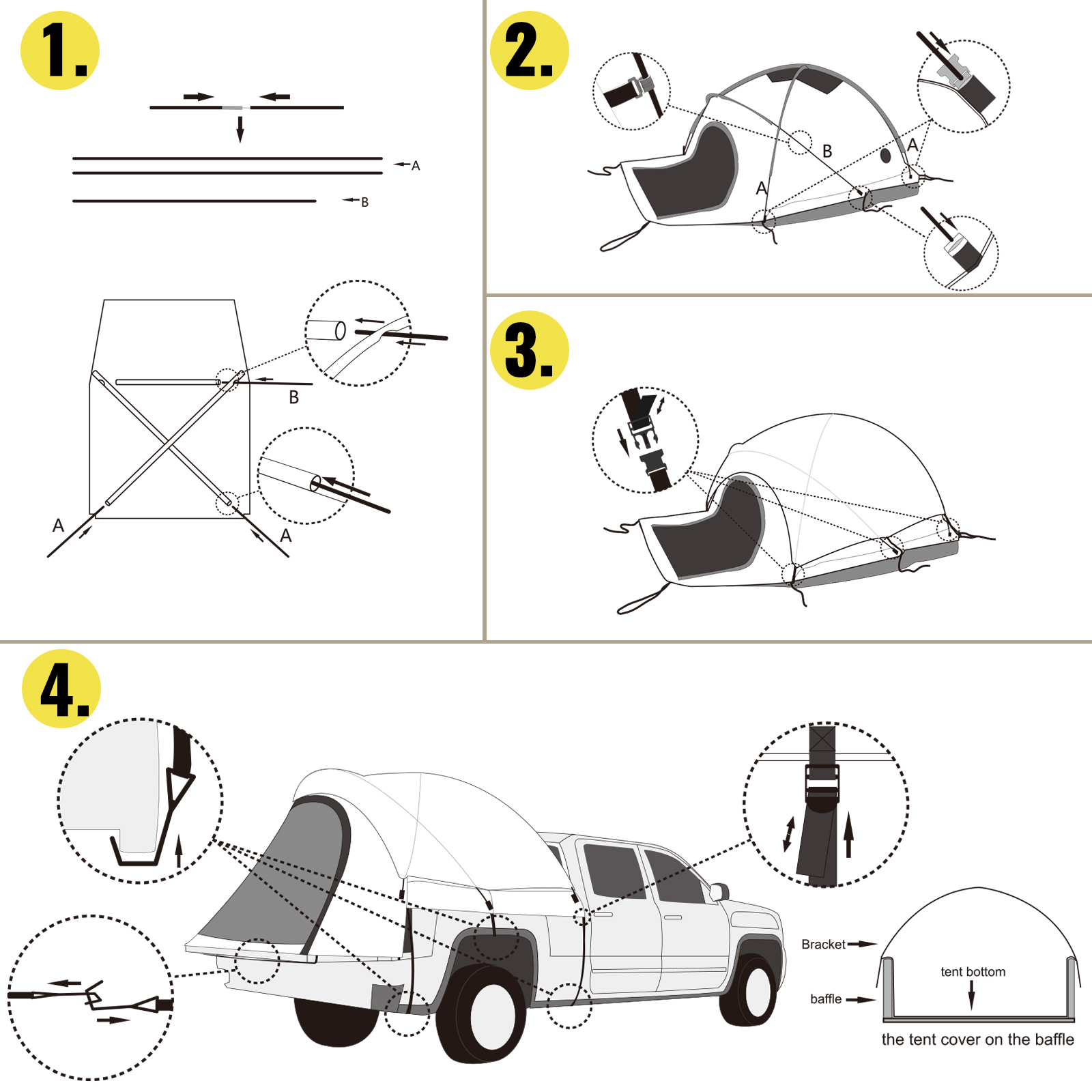 thumbnail 6 - VEVOR Truck Tent Truck Bed Tent 5' - 8' Pickup Tent Waterproof Outdoor Camping