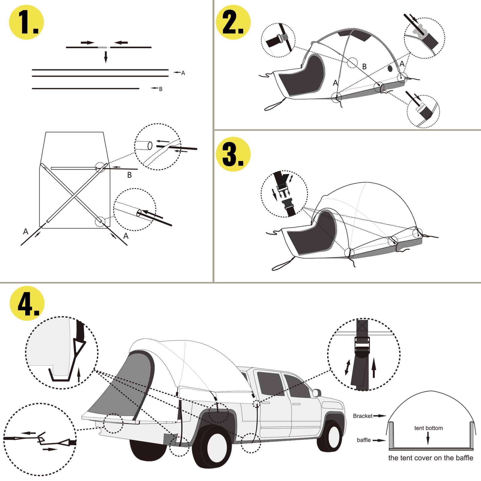 thumbnail 18 - VEVOR Truck Tent Truck Bed Tent 5' - 8' Pickup Tent Waterproof Outdoor Camping