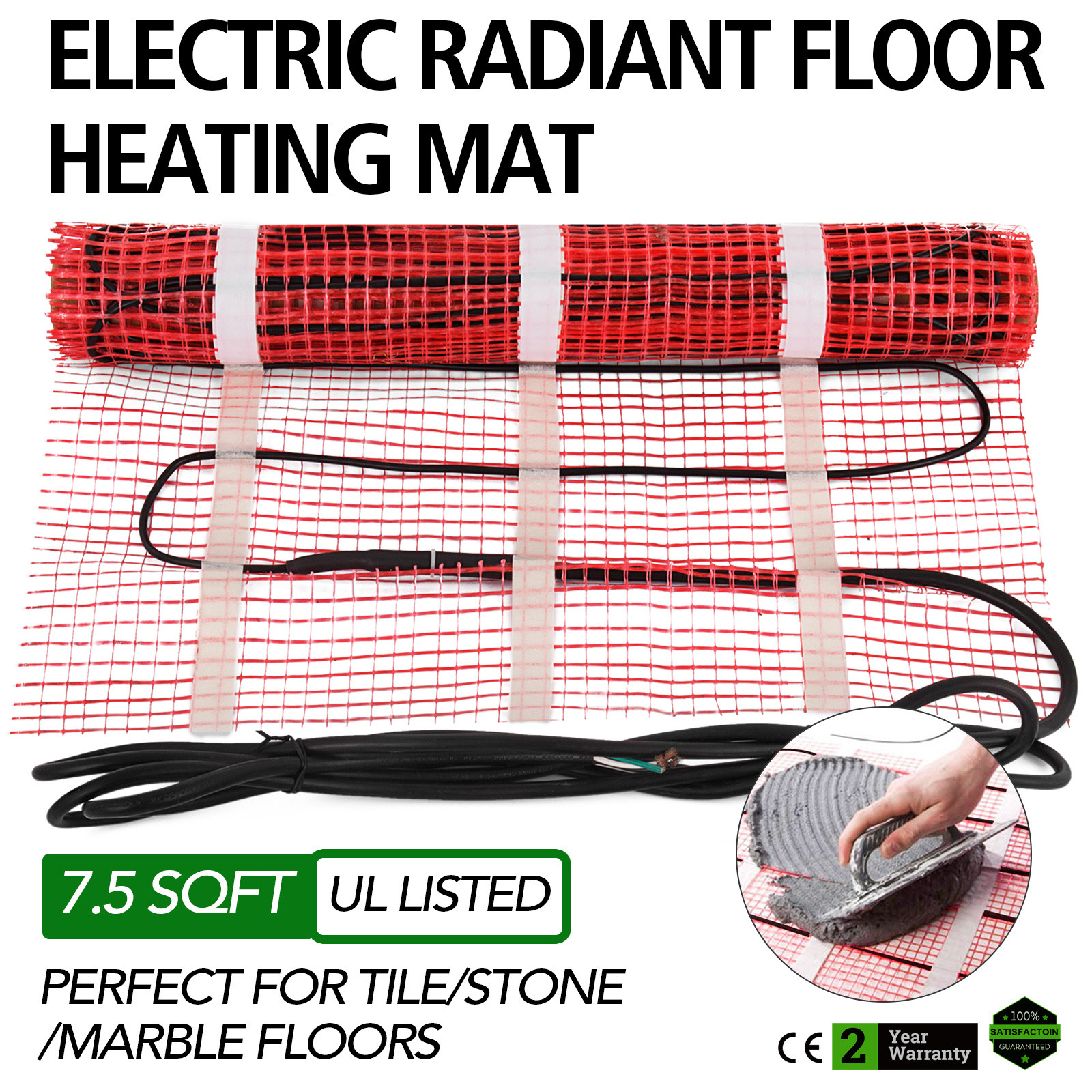 Electric Tile Radiant Warm Floor Heating Mat 20 Sqft Self