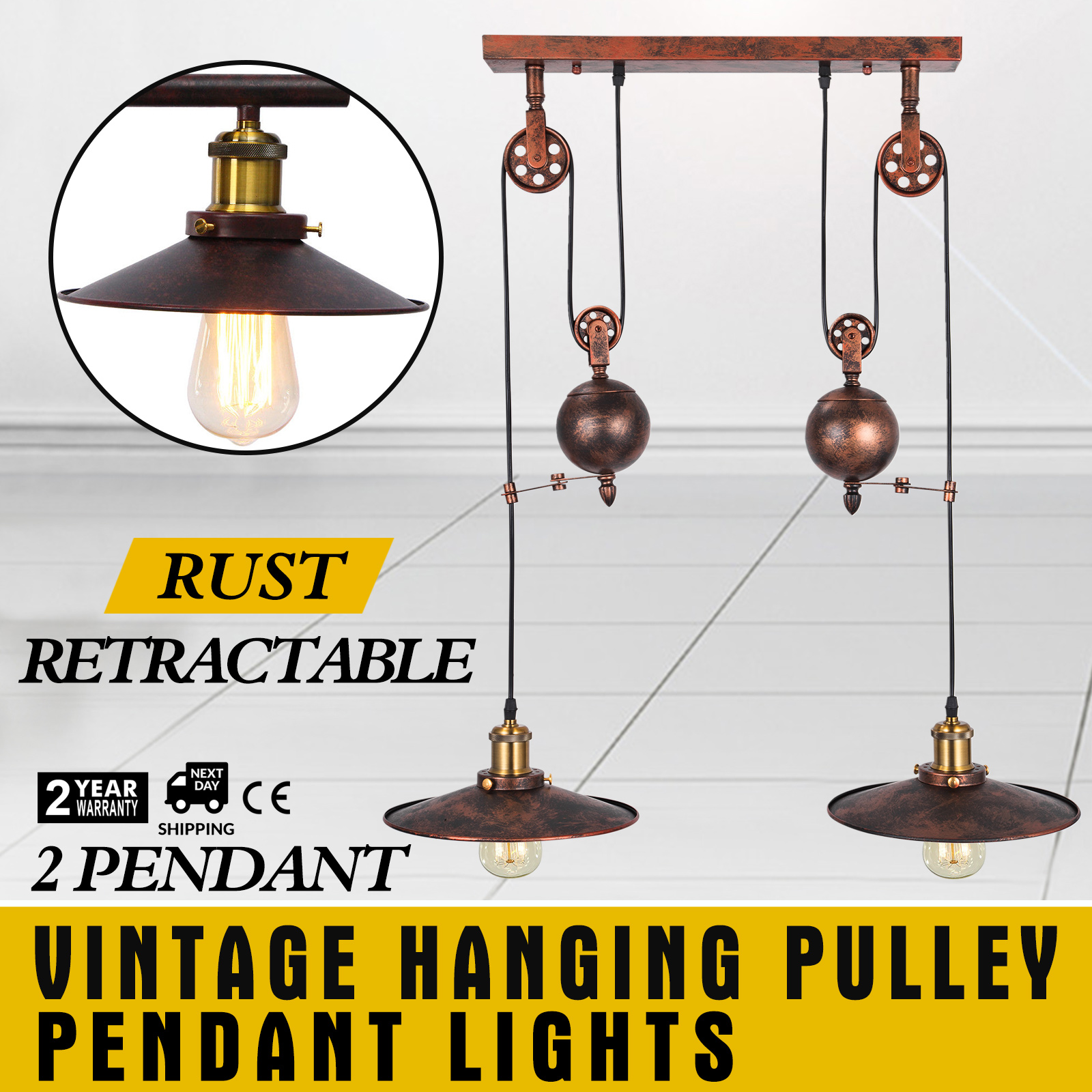 Details About Vintage Hanging Pulley Pendant Lights Adjule Kitchen