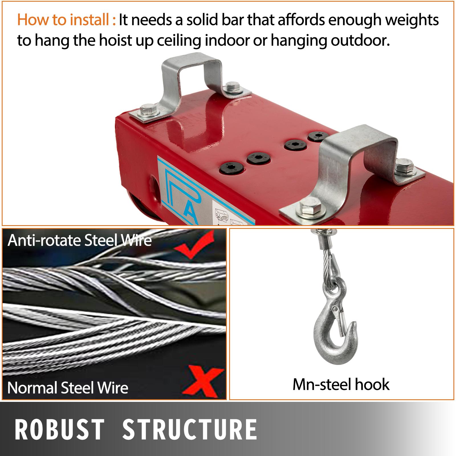 100kg-900kg-Electric-Hoist-Winch-Lifting-Engine-Crane-Cable-Lift-Hook-Garage miniature 75
