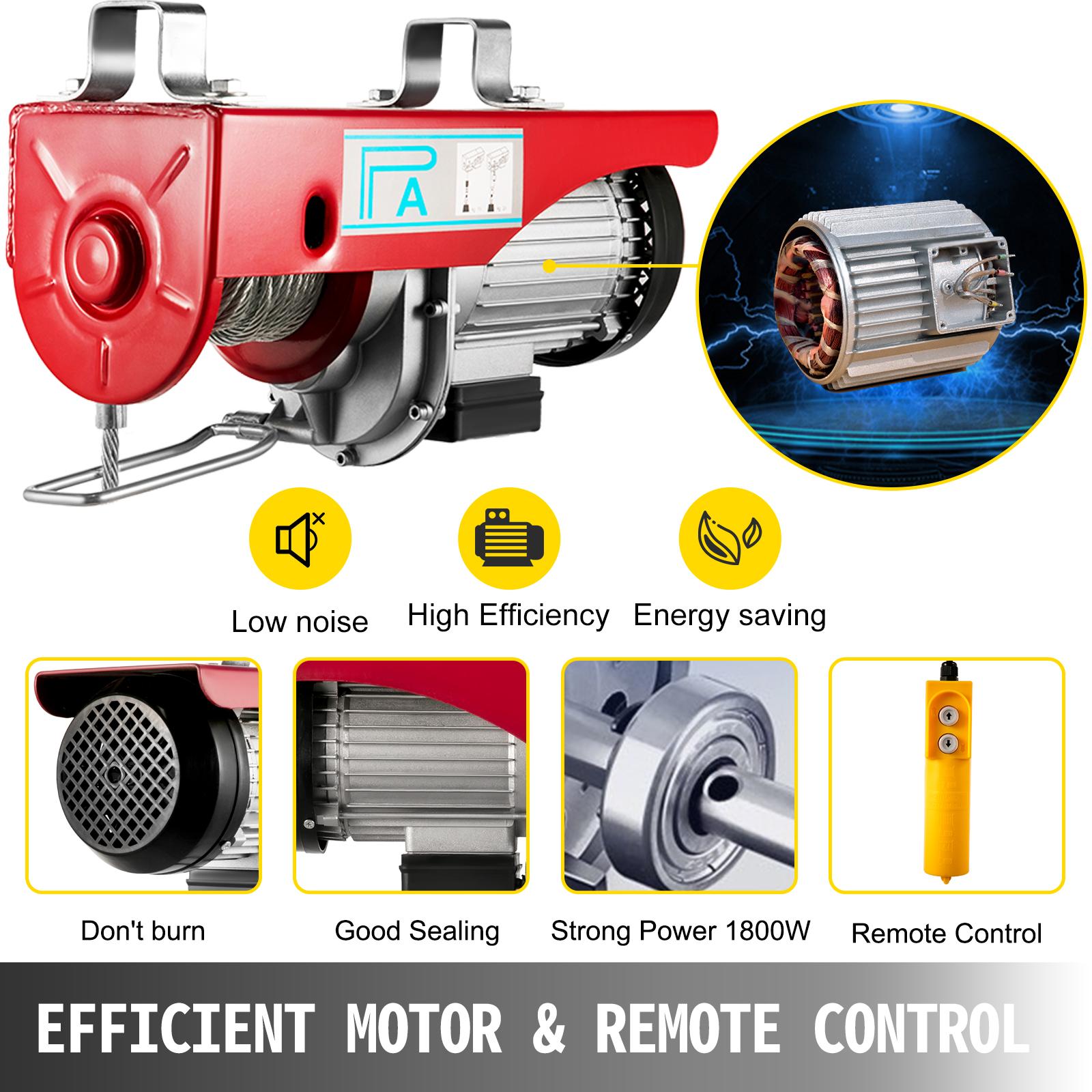 100kg-900kg-Electric-Hoist-Winch-Lifting-Engine-Crane-Cable-Lift-Hook-Garage miniature 76