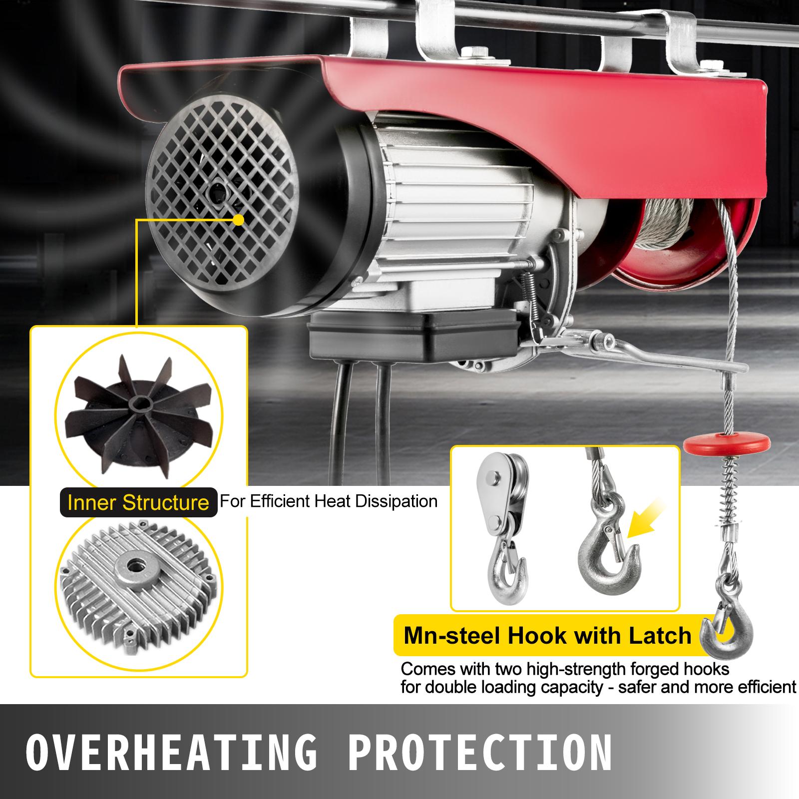100kg-900kg-Electric-Hoist-Winch-Lifting-Engine-Crane-Cable-Lift-Hook-Garage miniature 78