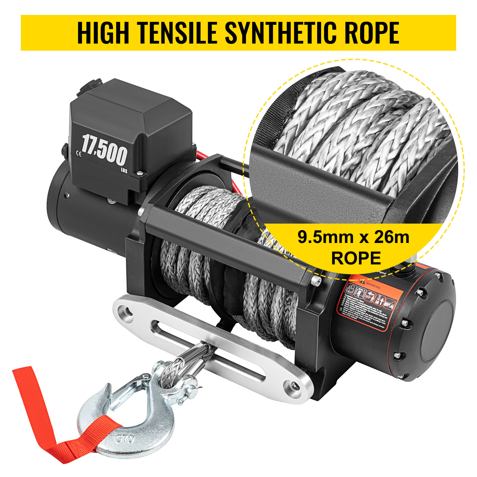 electric winch,synthetic rope,17500 lbs