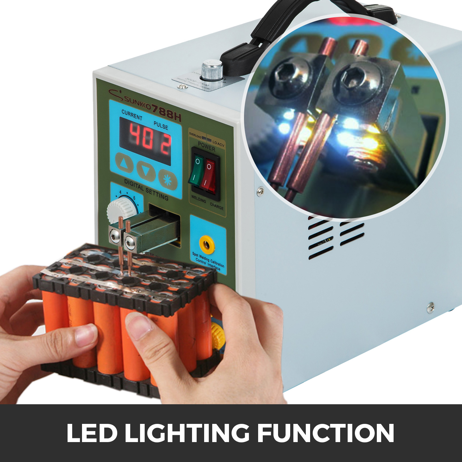 788H 2in1 LED Pulse Punktschweiß 220V 50-60Hz gerät Spot Welder Battery Charger