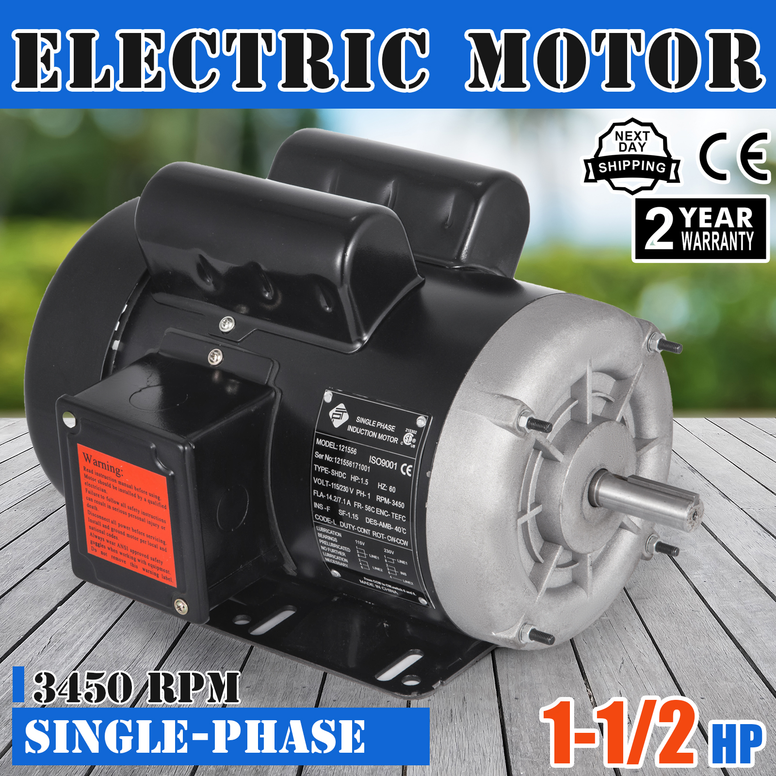 "Electric Motor 1-1//2 HP Single-Phase 3450RPM TEFC 5//8/"" shaft General 2 pole"