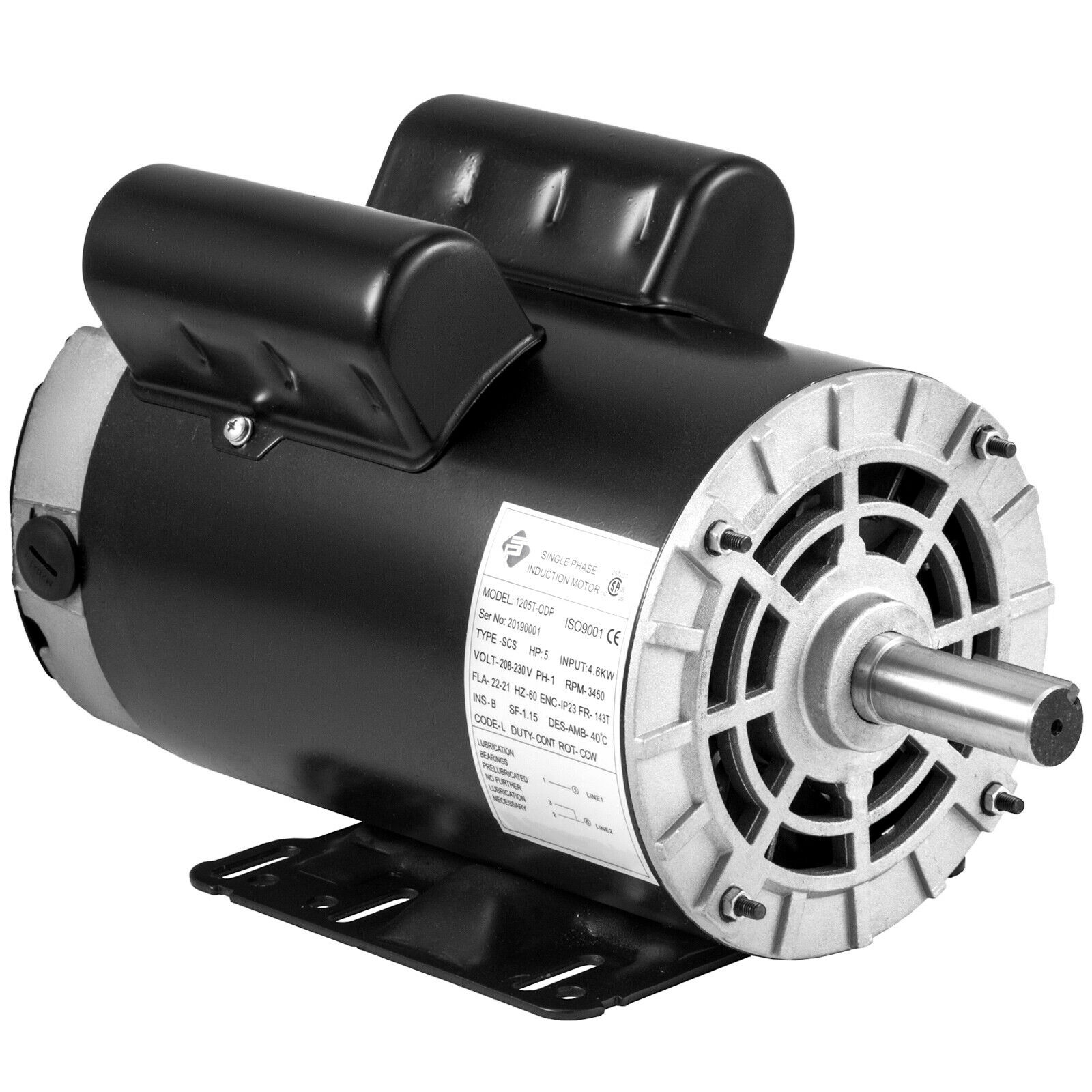 VEVOR 1.5 Hp Electric Motor with Flange Rated Speed 3450 RPM Single Phase Motor AC 115-230V Air Compressor Motor Suit for Agricultural Machinery and General Equipment