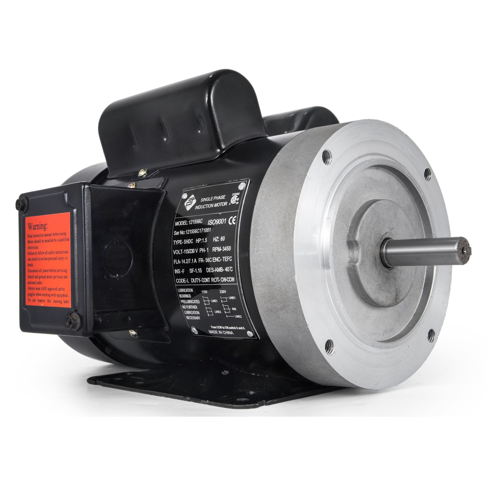 Details about Electric Motor 1 5HP 56C 1 phase TEFC 115/230V 3600RPM  121556C 60Hz Keyed shaft