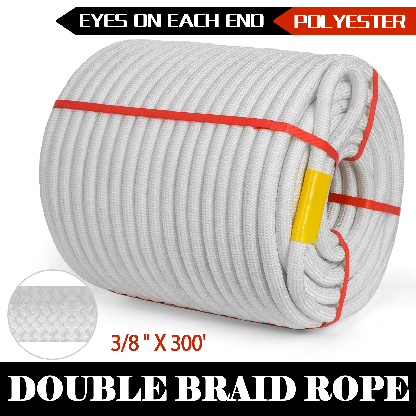"""1//2"""" 300FT Braid Rope Polyster Rope Eyes on Ends Nylon Halyard High Strength"""
